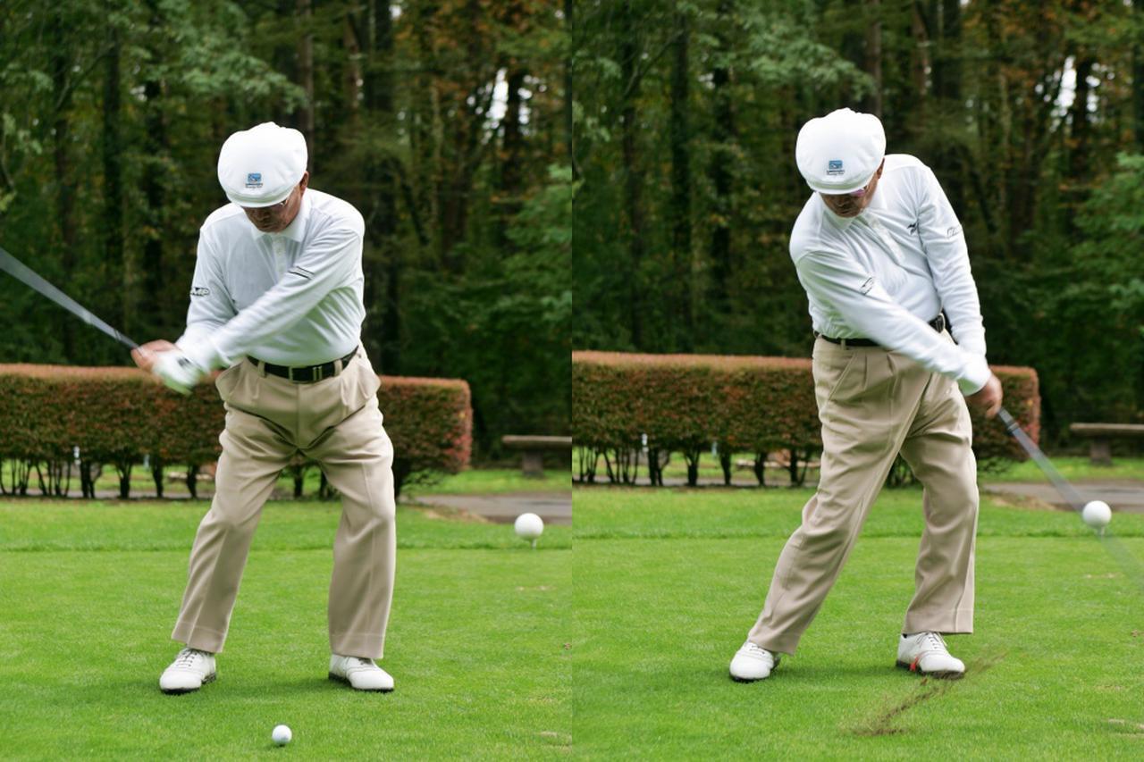 画像: 左への腰のスライドが行われたあとインパクトへ。左肩の上昇や腰のキレも連動して生まれる手の動き、クラブの動きを感じ取ろう