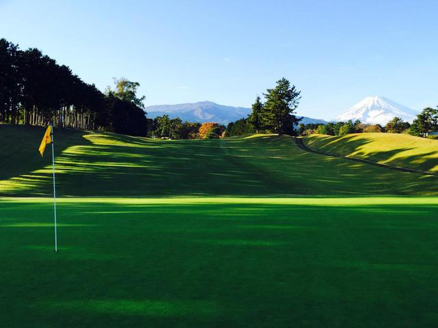 画像: 桃園8番のパー4。ティから見ると右が林、左が谷。グリーンの傾斜も強いホール