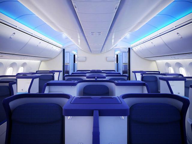 画像: ボーイング787-8のビジネスクラスは32席。パーソナルスペースが広い配列
