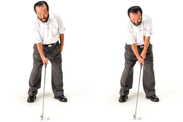 画像: 「寝かせた刀(フェース)をヨコに振って斬るのがゴルフ。右手のひらはヨコを向くのではなく上を向いたまま動く」