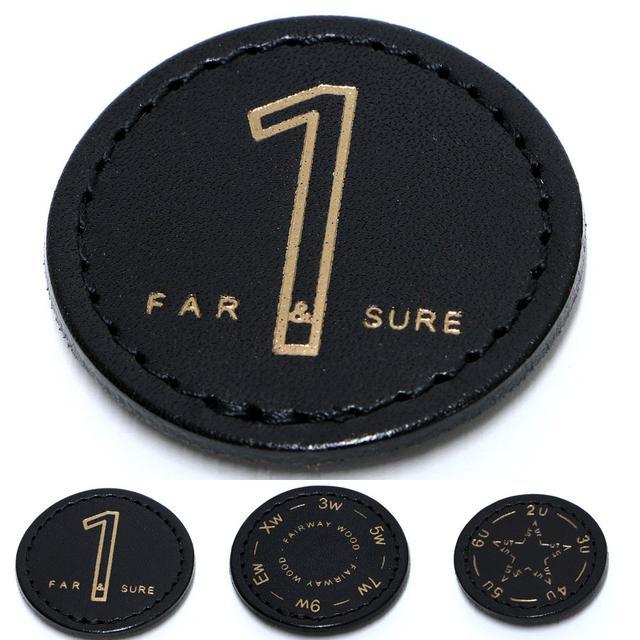 画像: 着脱可能な番手マークは厚みのあるヌメ革製。FW、UTの表示はダイアル式なので使用番手に合わせて調整できる