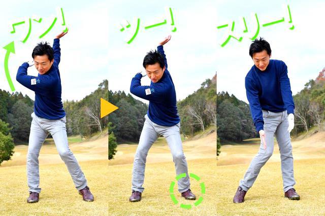画像1: バックスウィング→左足を踏み込む→インパクト
