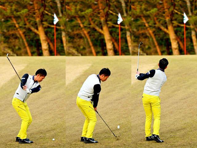 画像: バックスウィングではフェース面の向きを変えないように真っすぐクラブを上げることで、入射角がゆるやかになりヘッドが低い位置をとおる。ボールを押すイメージを持って左手甲を目標に向けて振っていこう