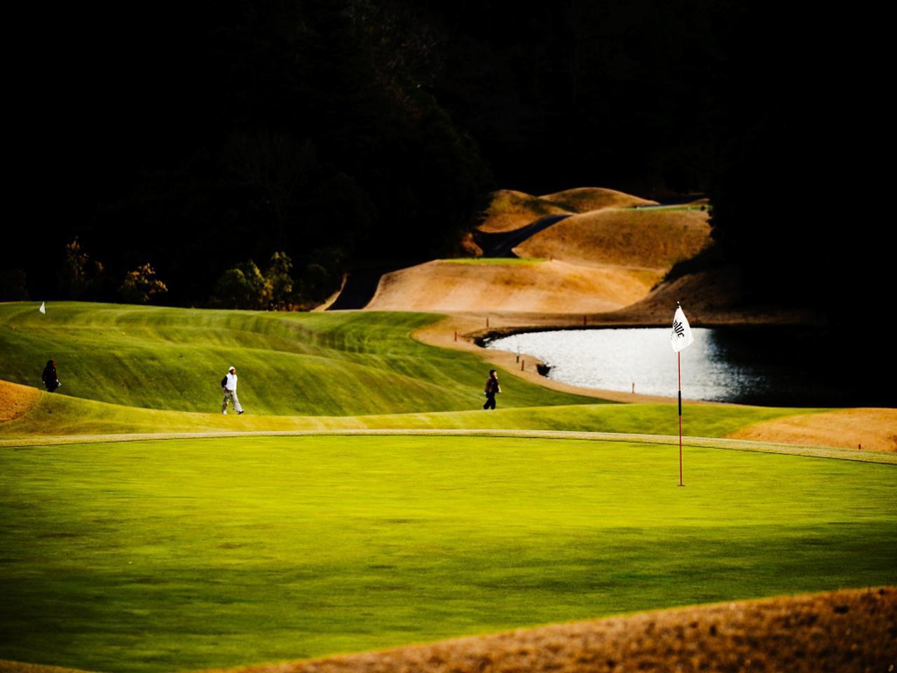 画像: ブリック&ウッドクラブ2番(449Y・P4)高低差の大きな打ち下ろしの左ドッグレッグ。ティーイングエリアが1段せりあがっているホールが多いのは、少しでもゴルファーの気分を高揚させたいからだとか