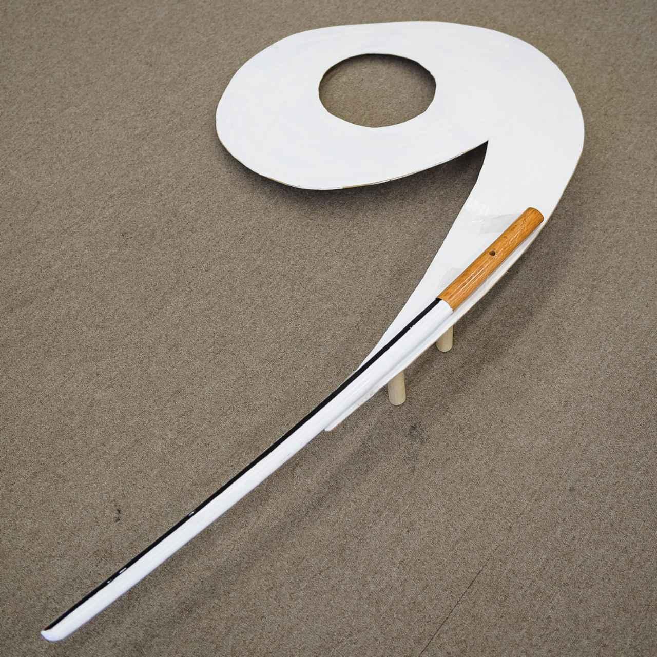 """画像: 「刀」と「勾玉」が合体した""""カブリもの"""" を考案。直線がないから、スムーズに回転が起こる"""