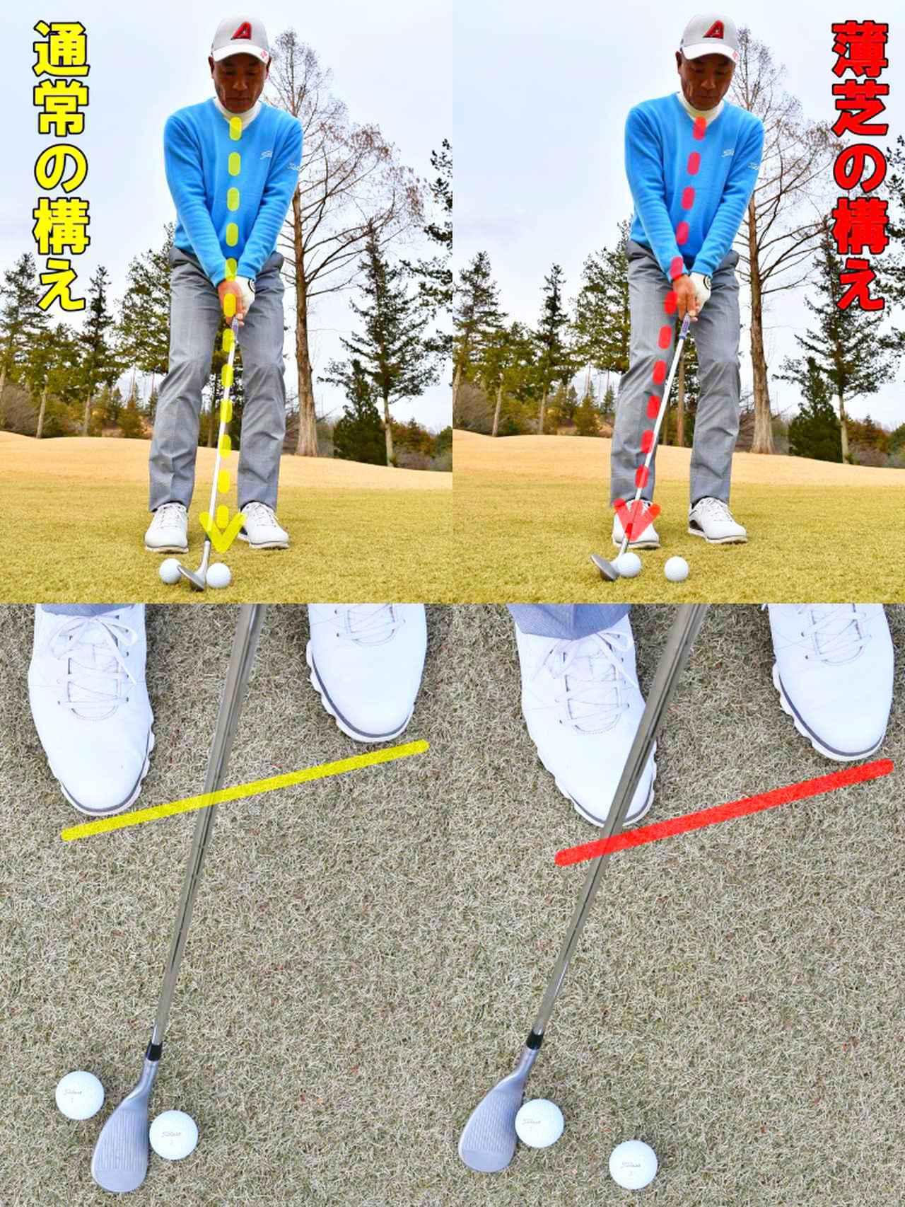 画像: 通常は上からボールを見て、スタンスはややオープンに構える。薄芝の時は、左斜め上からボールを見て、スタンスの幅を狭くする