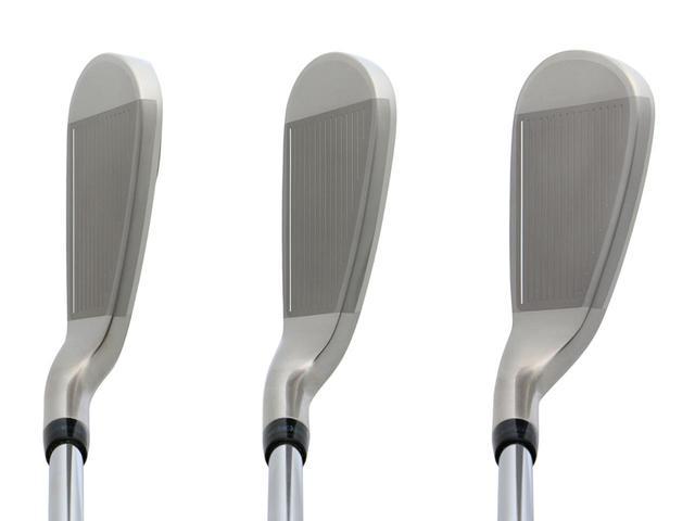 画像: 左から#5(22度)、#7(28度)、#9(37度)ボディのたわみを増幅させるヘッド内部の溝が飛びのポイント