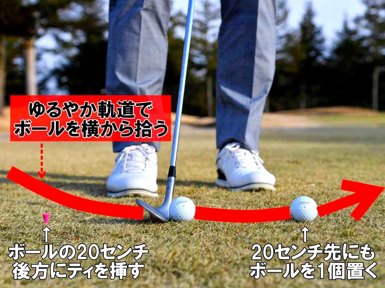 画像: ボールを2つ並べて 2個とも真っすぐ飛んだら合格