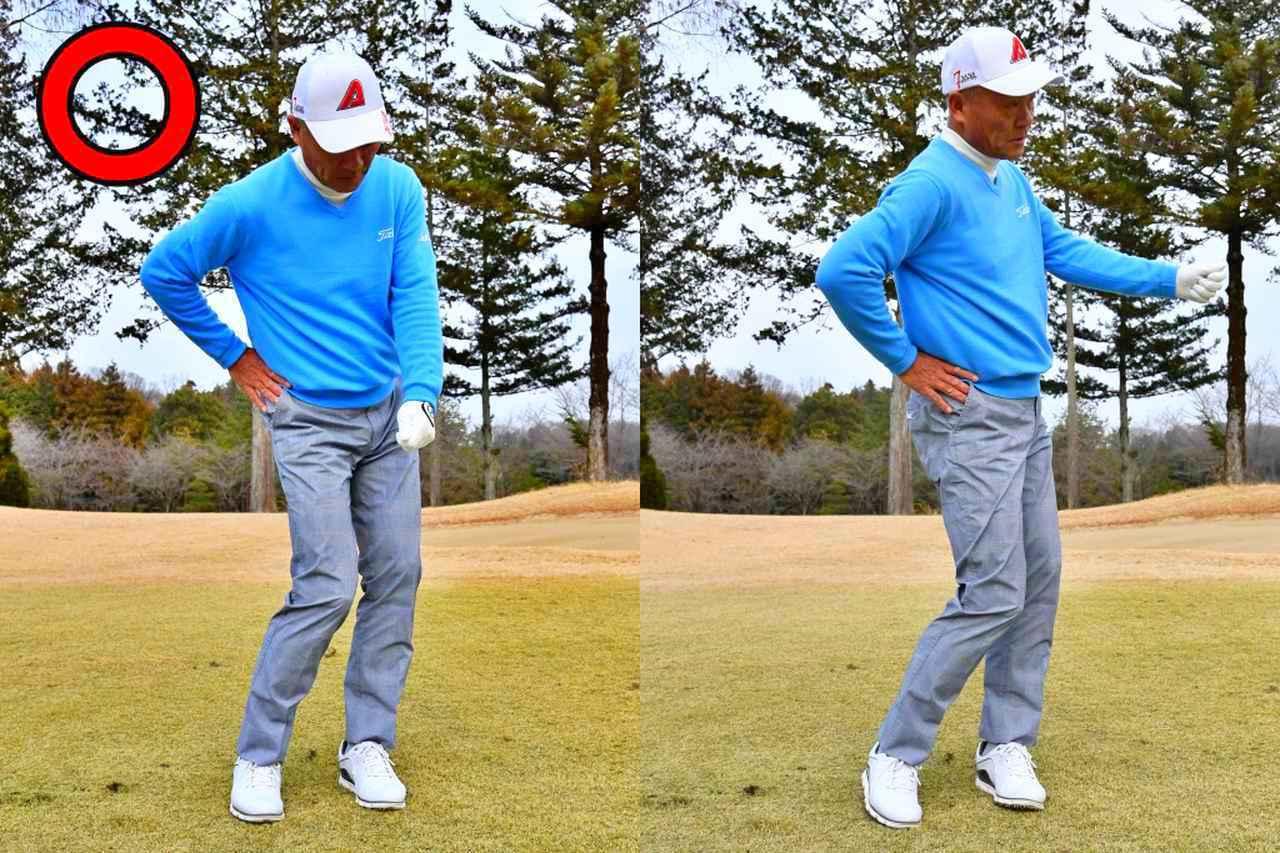 画像: 右のお尻が押されて、腰が回転する