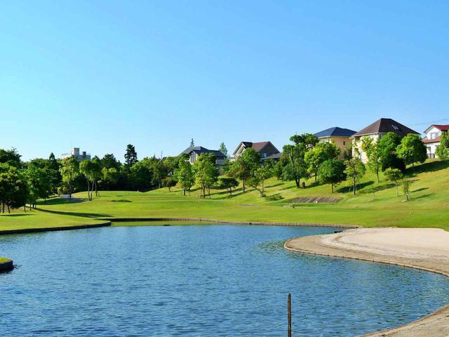 画像: 8番/228㍎/パー3 右に池、ビーチバンカー風の美しいホール。確実に左から攻めたい