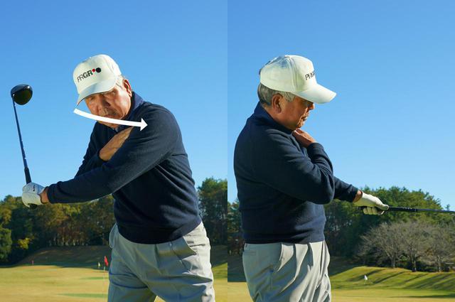 画像: ダウンスウィングで先に動くのは左肩。左肩が先に「片付けば」振る空間ができる