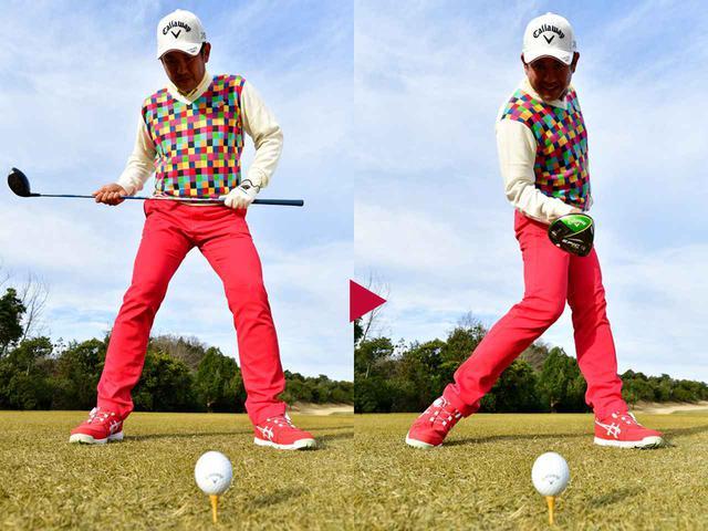 画像: 腰の前でクラブを水平に持ち、フェースがスクェアになるまで腰を回す