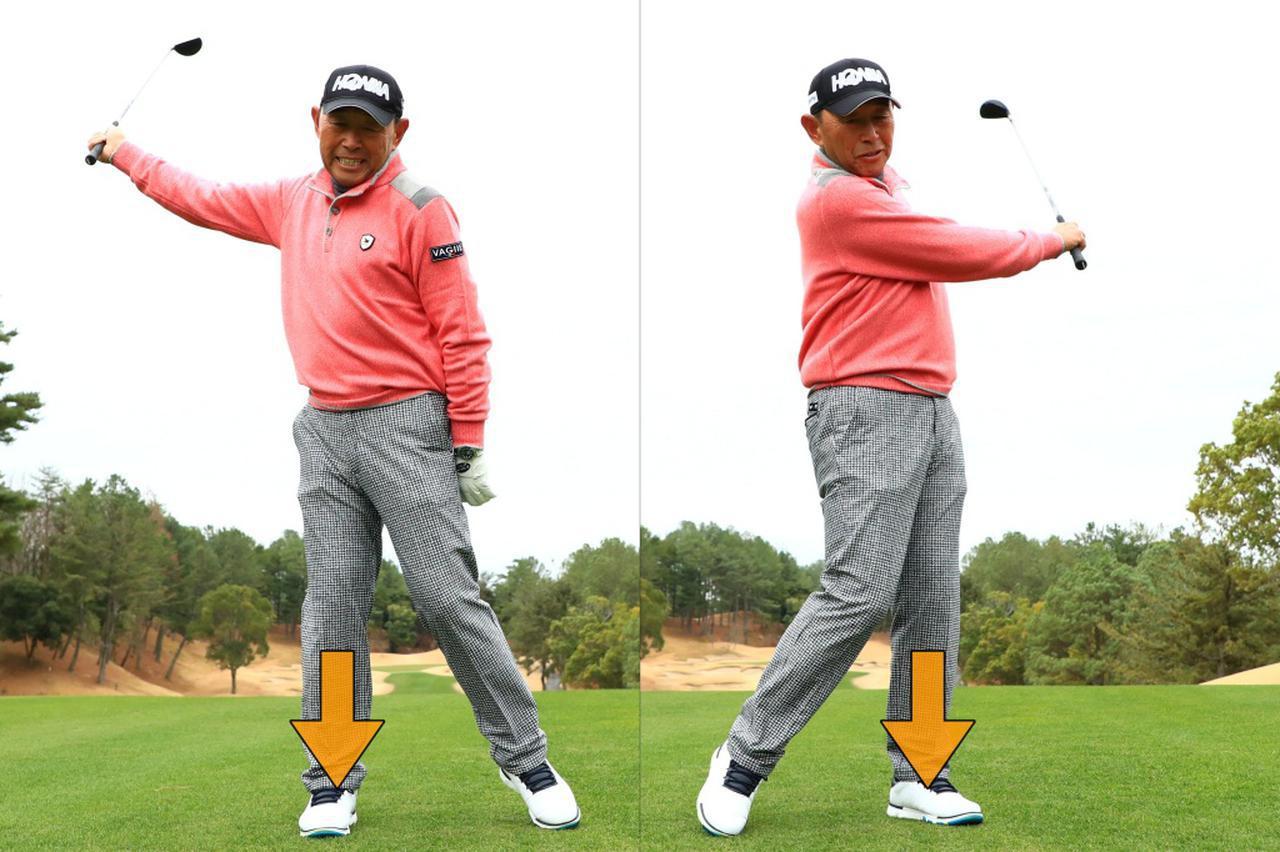画像: 右に体重移動しつつ右腕で上げ、左へ体重を乗せて左肩まで振り抜く!