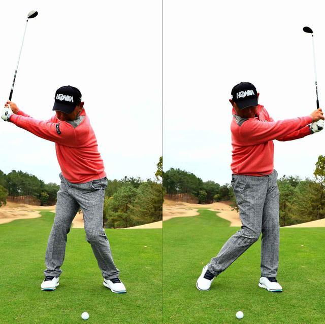 画像: 「アゴを下に向けたままスウィングできる私の振り幅は、右肩から左肩まで」