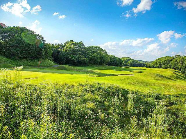 画像: 北海道ゴルフ倶楽部ライオンコース(18番・425Y・P4)コブ状のラフが特徴。グリーン手前にドライクリーク