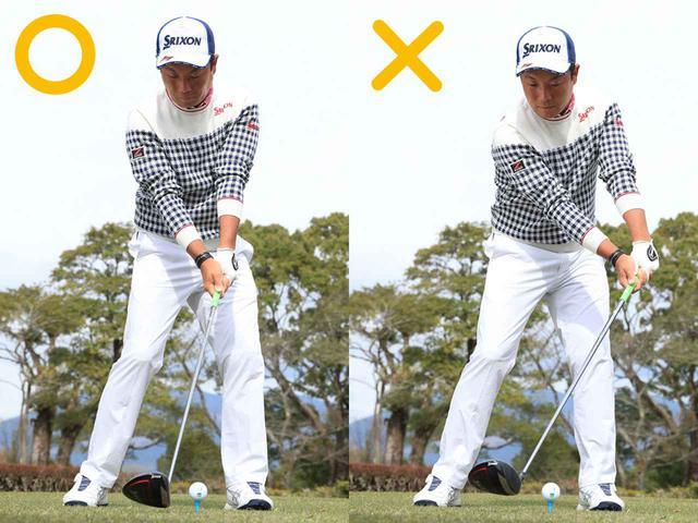 画像: 〇体の正面で打つ ×手が前に出ると球が散ります
