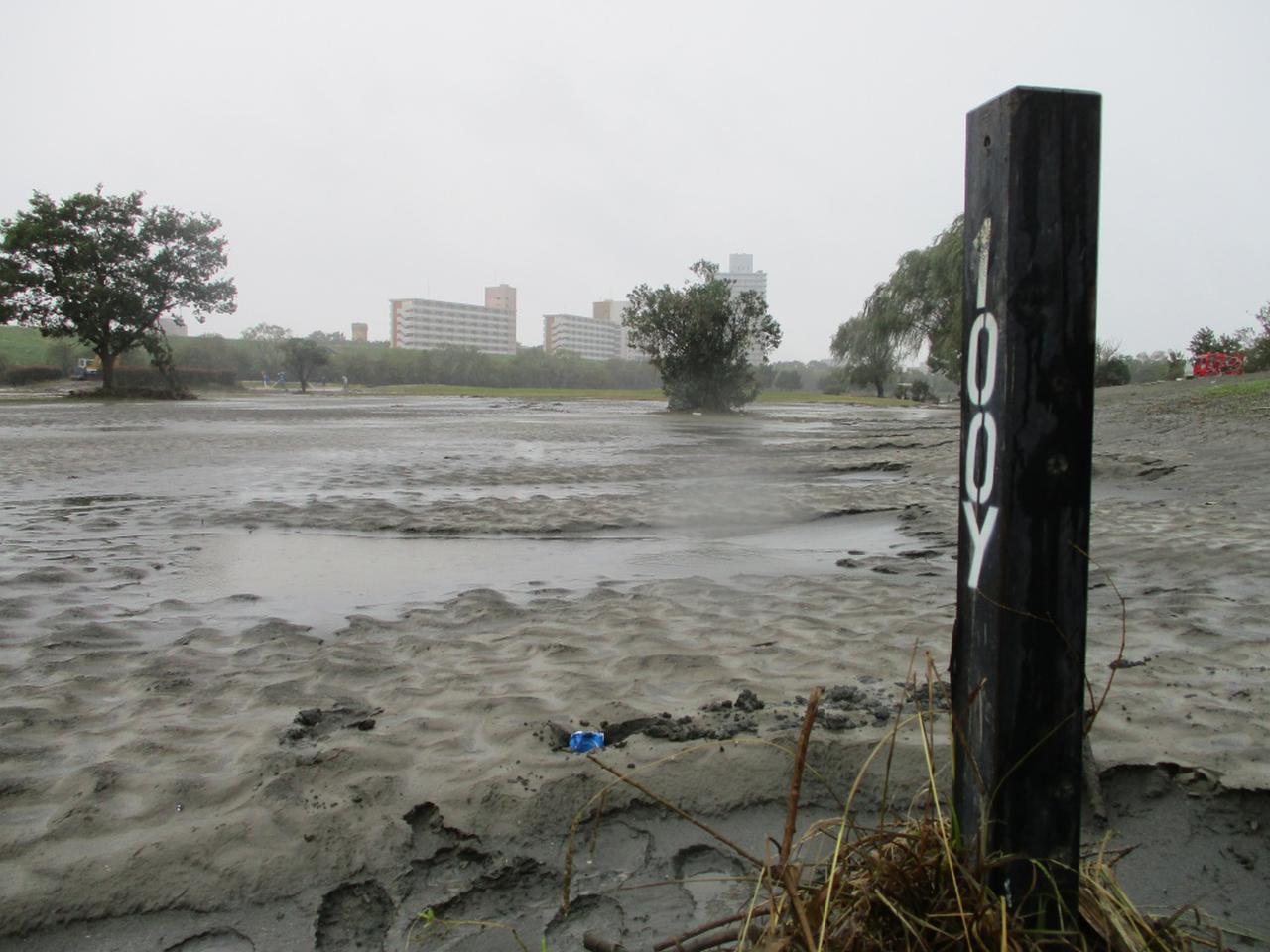 画像: 冠水、そして水が引いた後の赤羽ゴルフ倶楽部には大量の川砂とヘドロが堆積していた