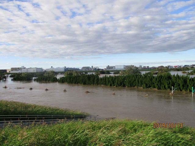 画像: 台風の翌朝。ゴルフ場全体が濁流にのまれ、見えるのはホールを隔てていた木々だけ