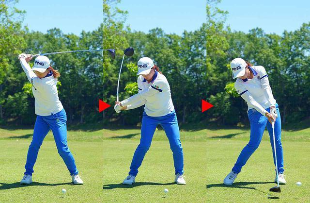画像: 【渋野日向子のドライバーショット】 インパクトまで右手首の角度が変わらない