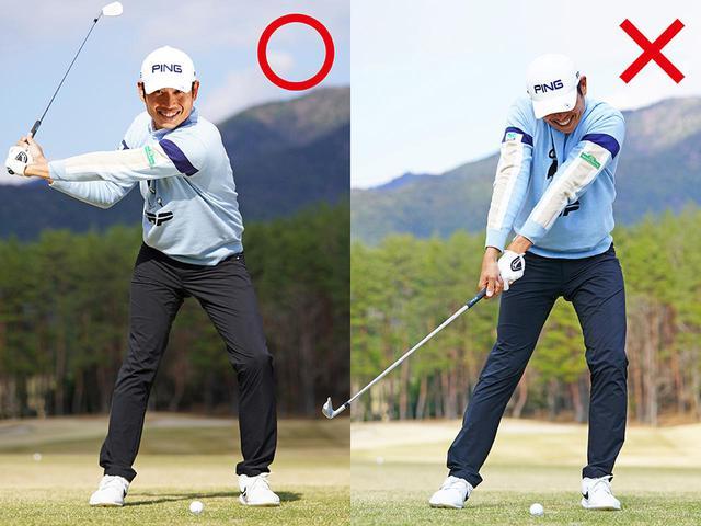 画像: 【〇】ボディから回すとタメができてヘッドが加速する、【✖】腕で振り下ろすと手首が伸びてすくい打ちに