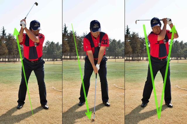 画像: 「スウィングは、体の回転と腕の上げ下げの2つの動作の組み合わせ。仮に体を回さなければ、軌道はV字になります。横ではなく縦のイメージが重要ですよ」(ユハラ)