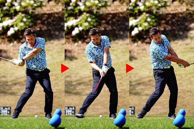 画像: 「ティアップを低くすることで、低い球を打つ意識を持たせます。すると、自然に目線も低くなってきます。早く着弾させれば曲がり幅が小さく抑えられえるので、絶対曲げられない場面では保険をかけて使います」