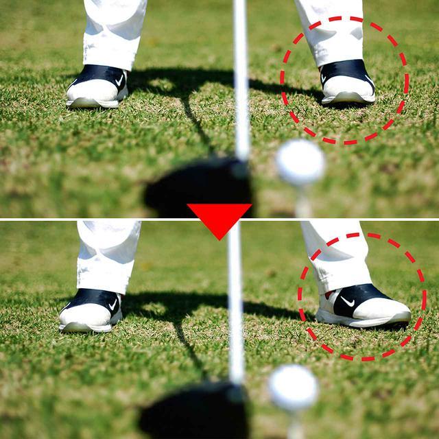 画像: 下の写真がつま先を開いた状態。かかとを合わせてから開くのがポイント