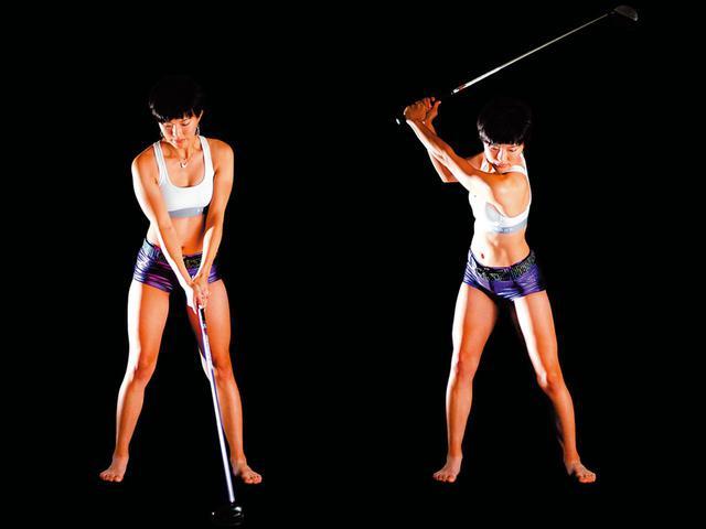 画像: 上半身と下半身の捻転を作る