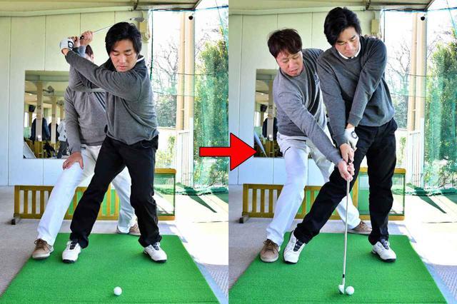 画像: 軸をずらさずに上げようとしすぎると、トップで体が沈み込みやすく、ダウンスウィングでは逆に伸び上がりやすくなる。リリースが早くなり、ハンドファーストには当てづらくなる
