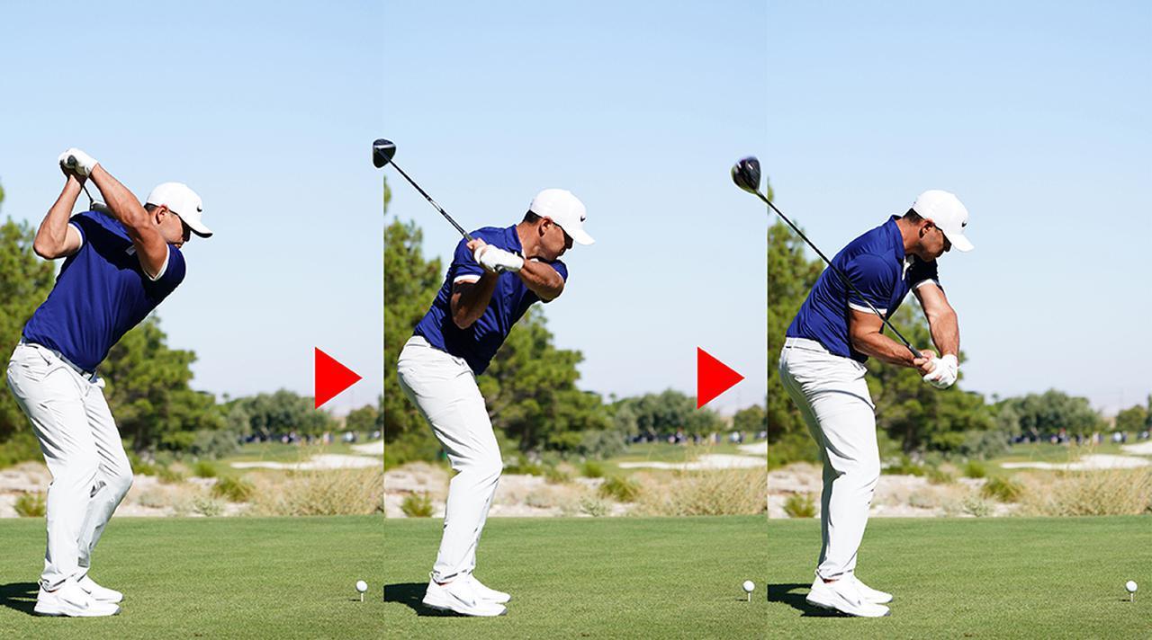 画像: トップで閉じていたフェースが、ダウンでスクェアに戻るのは、左手首をゆるめた証拠