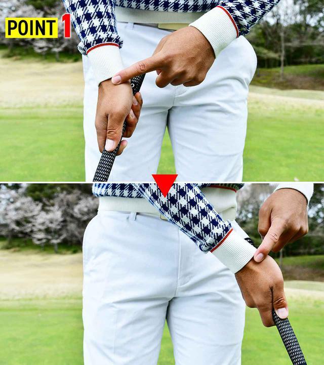 画像: 打ち方のポイント① 右手首の角度を保つ