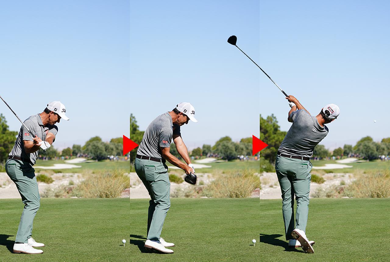 画像: 右肩からクラブが下りて、左肩に抜ける軌道も教科書どおり