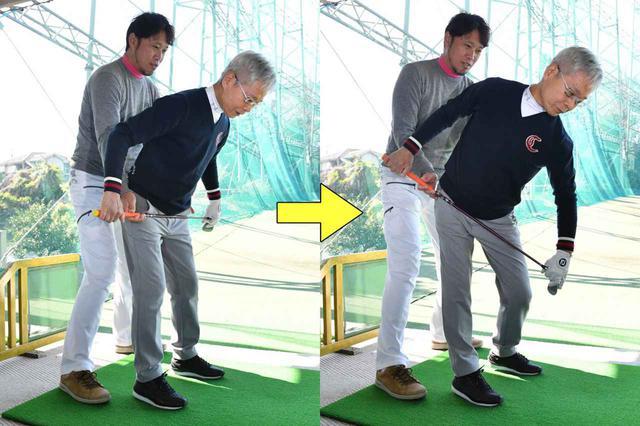 画像: 【ポイント①】 骨盤を傾けたまま腰を斜めに回す