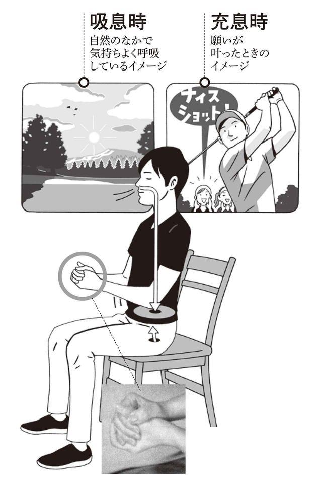 画像: わきを軽く締め、ひじは直角に曲げ、両手のひらでゴルフボールをやさしく包み込むように組む