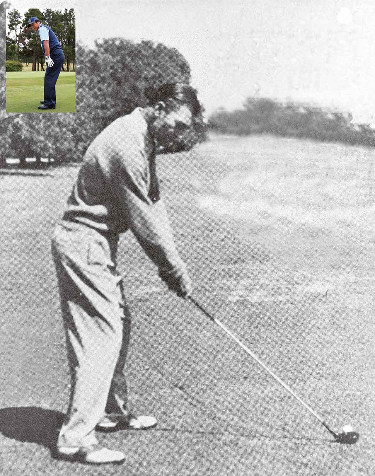 画像: ユハラが信奉するベン・ホーガンのアドレス。「右足を引いてクローズに構えていますが、型と腰はターゲット方向を向いています」