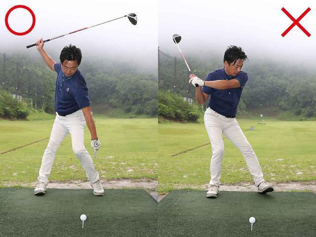 画像: ×かかと体重になると左腰が引けてカット軌道に