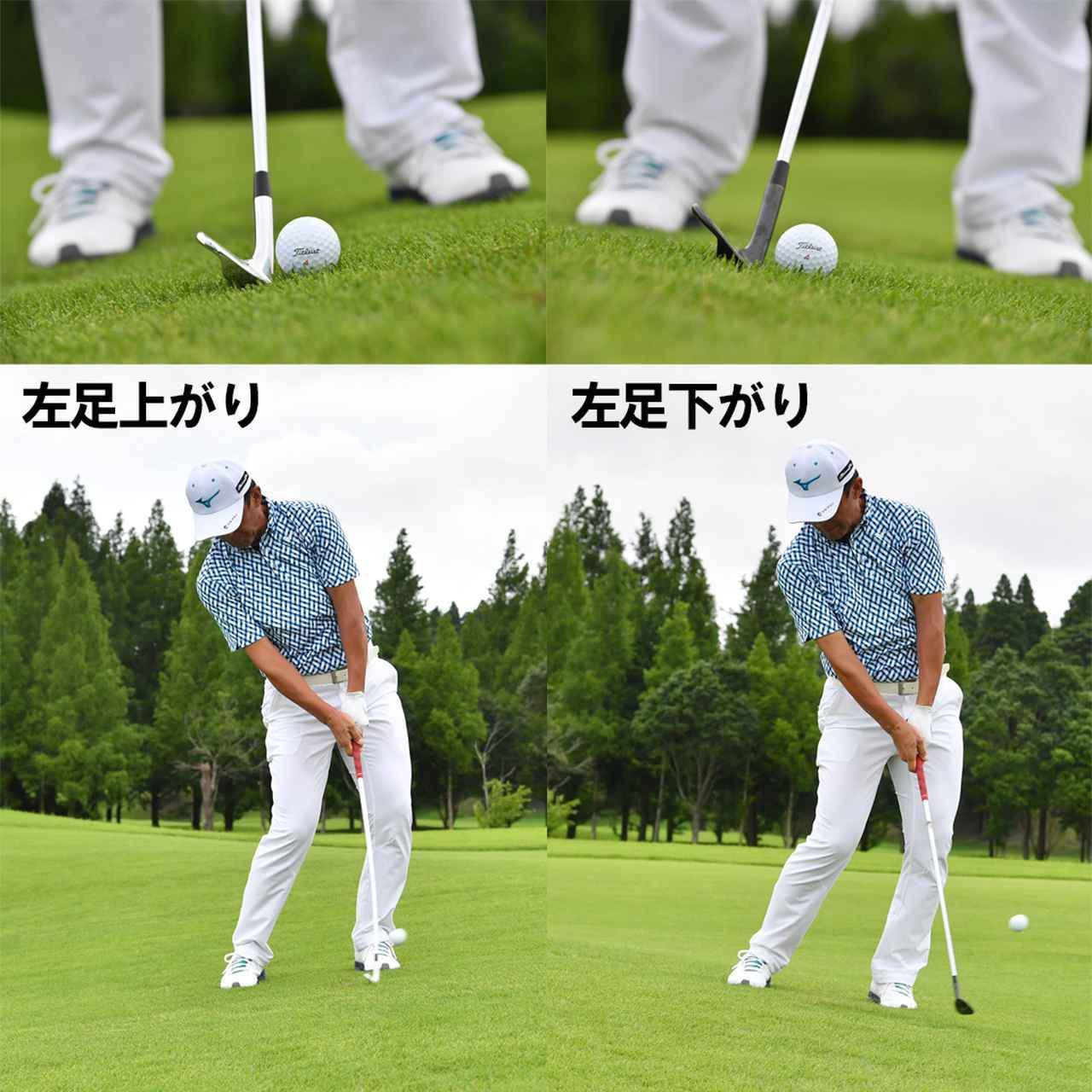 画像: (左)自然に距離が落ちる、(右)自然に距離が出る