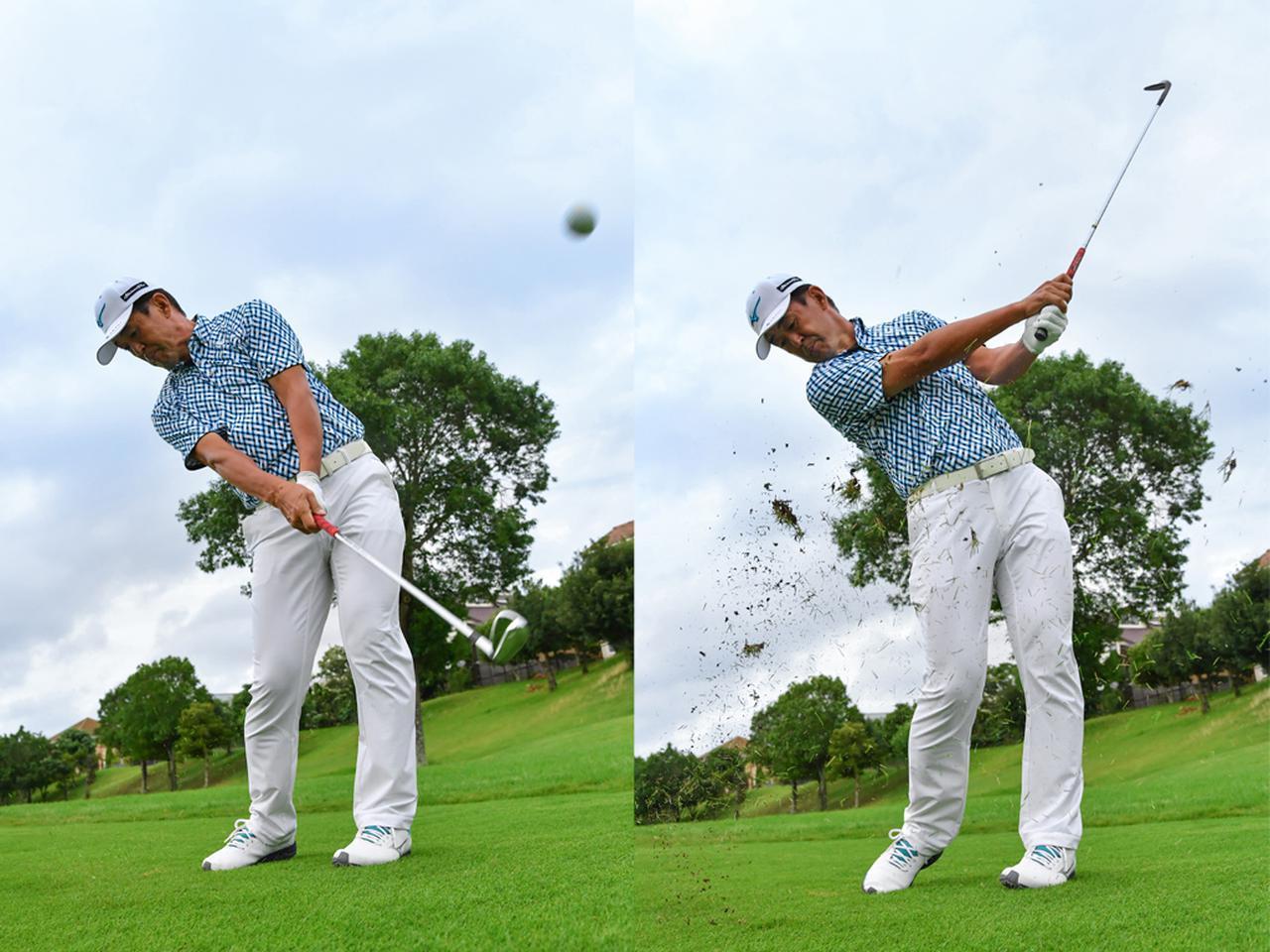 画像: PWのスピードを落として抑える(左)AWのロフトを立てて飛ばす(右)