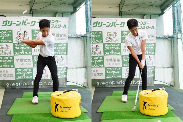 画像7: 【通勤GD】かなり気をつけて振らないと体が右にズレてしまう。それなら1軸を意識してトップから鋭く叩こう