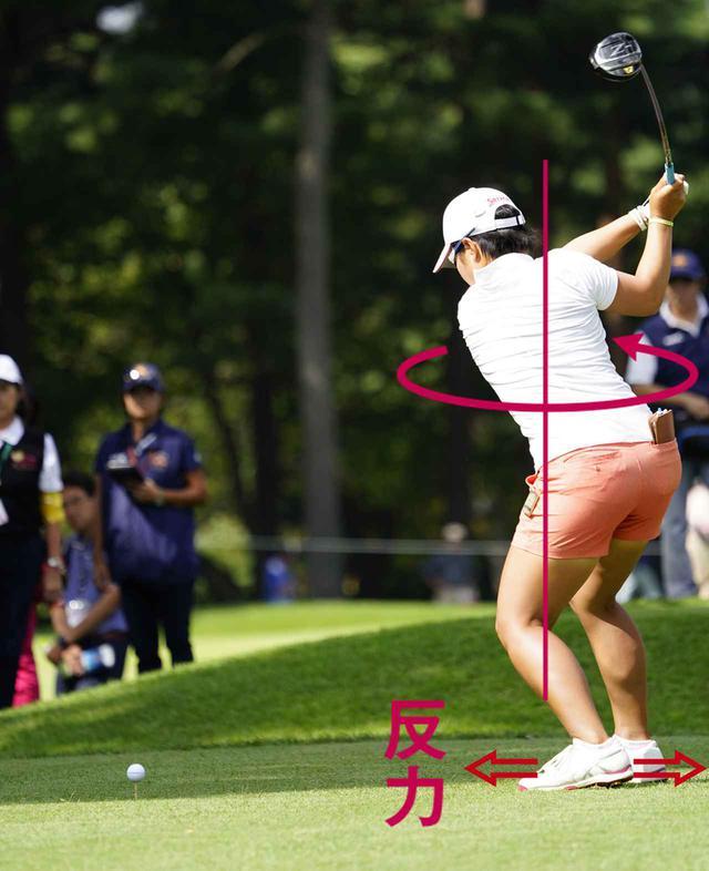 画像: 【飛球線方向への踏み込み】 切り返しで左足を左サイドに踏み込んでいくことで、右方向への地面反力が生じる。スウェイを防ぎ、上体が左に突っ込みにくくなる