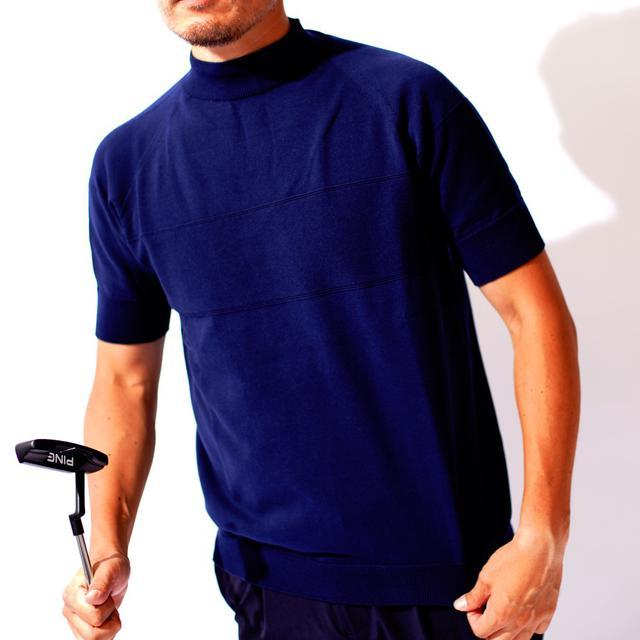 画像: 【ニット地が洒落感UP】サマーニットモックネックシャツ-ゴルフダイジェスト公式通販サイト「ゴルフポケット」