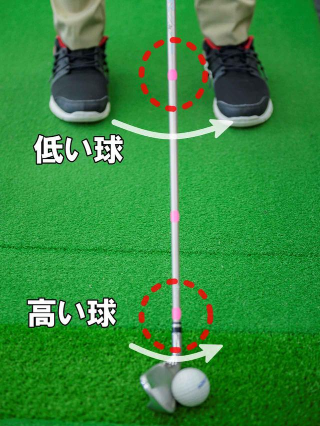 画像: 「シールを貼った場所で打つイメージ(支点と考える)をするだけで、クラブの動きが変わり、自然に体の動きも変わって、球の高低が打ち分けられる」