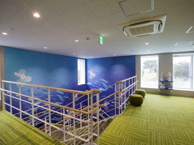 画像: 階段ホール。壁一面に魚が泳ぐ海中の写真プリントが貼られている