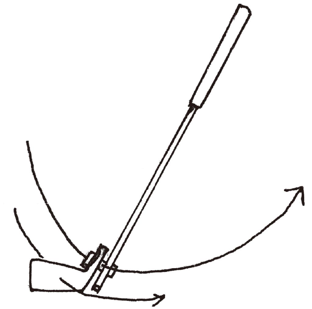 画像: 「シャフトを振れば、ヘッドが従うので曲がらない。いろいろな角度からイラストを描き、ジュニアたちにも見せています」