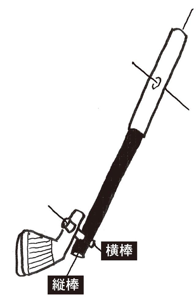 画像: 「グリップだけではなく、ネックにも『横棒』を差し込むイメージ。『横棒』によって取りつけられているヘッドは、シャフトを『振る』ことによって勝手にくるっと回転し、勝手に球に『当たる』と思えばいいんです」