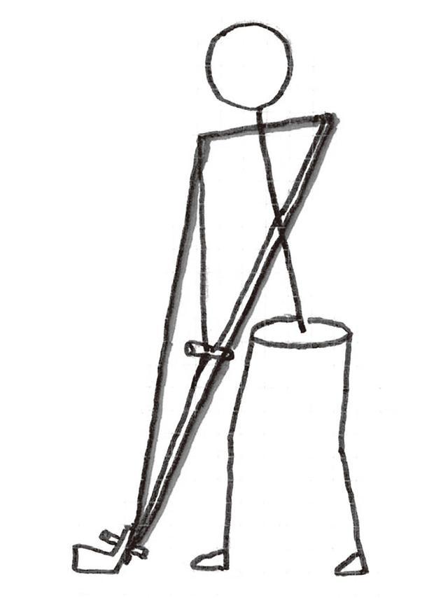 """画像: 「胸のラインと両腕のラインを結んだ""""小さな三角形"""" で『三角形を崩さず振る』イメージは、ボディターンを 使い、両腕を伸ばし、肩を回し、体のねじりによって打つためのもの。難しくケガにもつながる。胸のラインと クラブヘッドを頂点とした""""大きな三角形""""を動かすとヘッドが『回る』というイメージが肝心です!"""