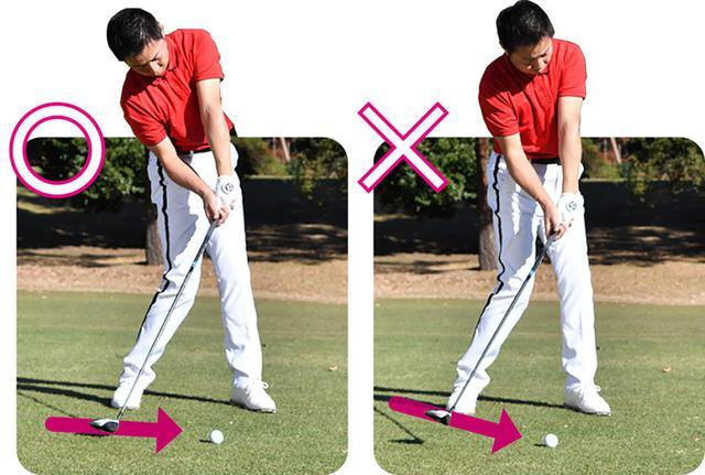 画像: 〇ソールを滑らせるように横からボールをとらえられる ✖上からヘッドが下りてくると7Wはうまく打てない
