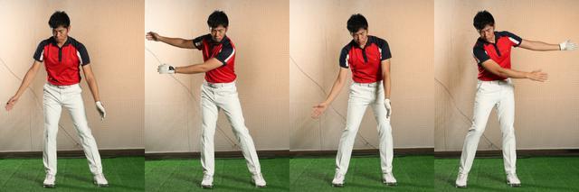 画像: 腕を脱力させ、肩からダランと垂らした状態で、左、右、左……と足踏みをする。すると、とくに腕を動かそうとしなくても、自然と腕が左右に動くのがわかる。反力を利用して「腕が振られる」感覚をつかめるはずだ