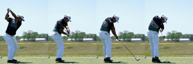 画像: 地面反力を利用して、前後軸の回転を最大限に生かすには、肩はタテに回る必要がある。そのため、ダウンからフォローにかけて、右肩の位置は徐々に低くなっていくのが自然な動きとなる