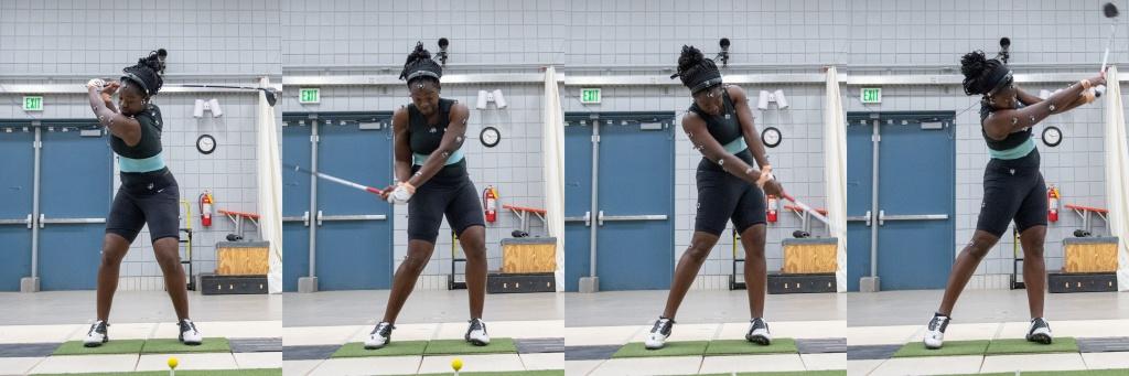 画像: 米女子下部ツアーで活躍するラカレベ・アベ選手。ダウンで左に体重を乗せ切れておらず、腰と肩が同時に回転してしまっていることを教授は指摘